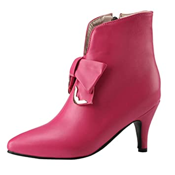 Zapatos de Cuero de Moda para Mujer Botines con tacón Fino con Cremallera en Nudo de
