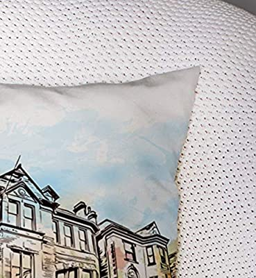 Pamime Square Throw Art Pillow Case City in USA Watercolor Splash Sketch Kentucky Pillow Case Cover Decorative Cushion for Home 16X16Inches Art Pillowcase