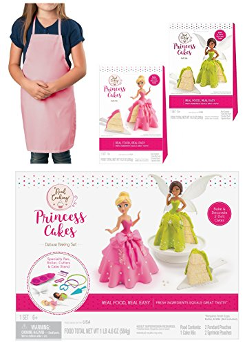 Real Cooking Princess Cakes Deluxe Baking Set with 2 Refill Kits and Exclusive Pink Kids Apron by My Favorite Toys