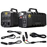 Kyng Power Solar Portable Generator UPS Battery 1000w Peak Emergency Generator 137,000mAh Rechargeable Station Inverter with 110V/500W 3 AC Outlet, 12V Car 4 USB Ports, Camping, WITH Solar Panel Cable