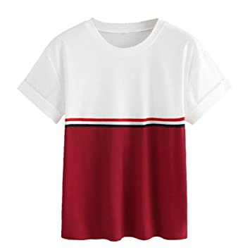 LILICAT® 🌱 Moda 2018 Raya de Verano Mangas Cortas con Cuello en vCamiseta con Remiendo