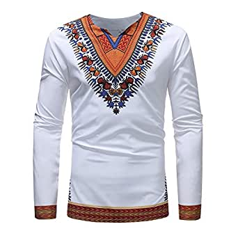 a4143c53a0 Image Unavailable. Image not available for. Color: Misaky Men's Shirt  Luxury African Print Top Autumn Winter Fashion Long Sleeve ...
