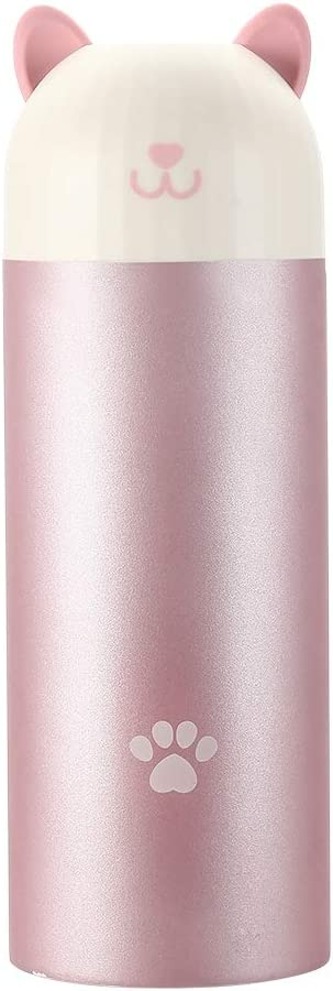 MIXU Catto Cat Shape Smart Thermos Bottle with Temperature Display, 304 Stainless Steel Food Grade Insulation Vacuum Flask, Leak-proof Anti Slip 10-Ounce Portable for Children, Girls, School, Pink