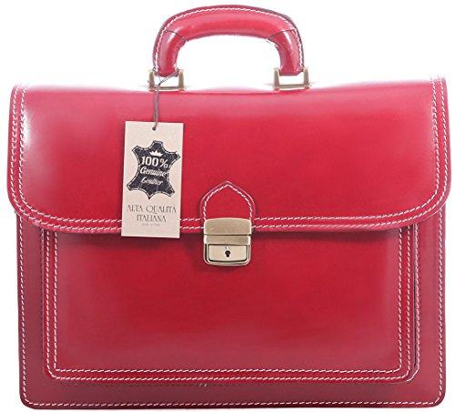 Hombres Organizador Bolsa Maletín italiano, Vera Pelle 100% Made in Italy Rojo