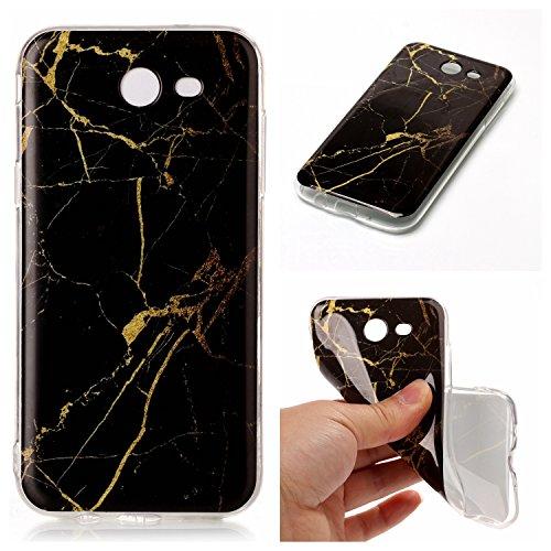 Luna Marble (For Samsung Galaxy J3 Emerge / J3 2017 / J3 Prime / J3 Mission / J3 Eclipse / J3 Luna Pro / Sol 2 / Amp Prime 2 / Express Prime 2 Case,KMISS [Marble Pattern] ShockProof Thin TPU Case Cover (GoldBlack))