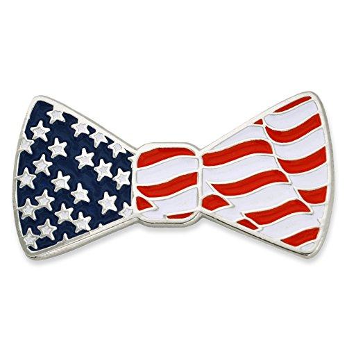 Enamel Bow Pin (PinMart American Flag Patriotic Bow Tie Enamel Lapel Pin)