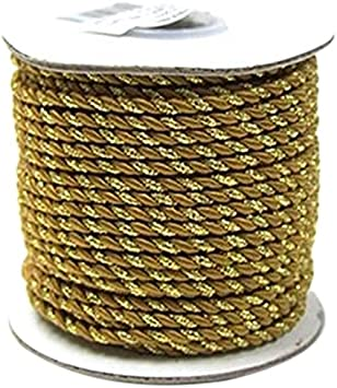 2 Ply Twisted Cord Rope Decorative 25 Yards White 3mm Gold Trim