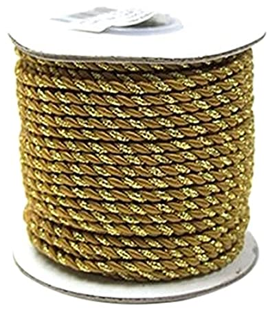 2 Ply Twisted Cord Rope Decorative, Gold Trim, 3mm, 25 Yards (Gold) Firefly Imports