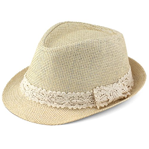 Trilby Fedora Hats for Kids - Summer, Beach & Party Hat for Boys & Girls - Short Brim Childrens Sun Hat - Cream Lace Trim Band - Cream