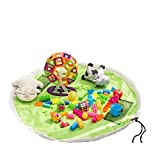 LLZJ Toy Storage Bag Kids Toys Organizer Baby Rug Portable Large Tidy Bag Storage Drawstring Play Mat Children Household Quick Pouch Sort Out Oxford Cloth, Green