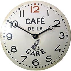 Roger Lascelles Convex Tin Clock, Café De La Gare Design, 11-Inch French Kitchen Clock