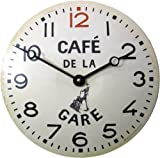 Roger Lascelles CT/GARE Convex Tin Clock, Café De La Gare Design, 11-Inch French Kitchen Clock