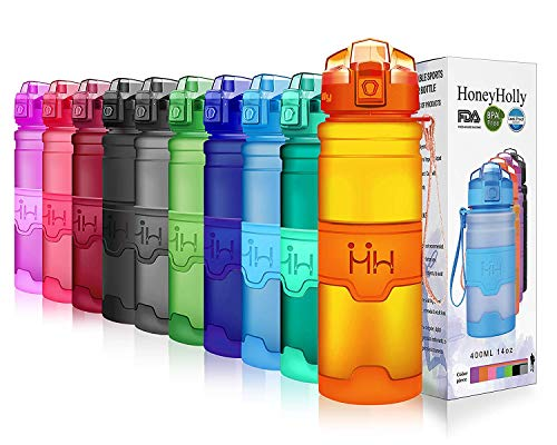 - HoneyHolly Portable Sports Water Bottle - Leak Proof Reusable Container, One Click Flip Cap, for Outdoor/Camping/Running/Gym/Kids, Non Toxic, BPA-Free Tritan Plastic (24oz-700ml, Orange)