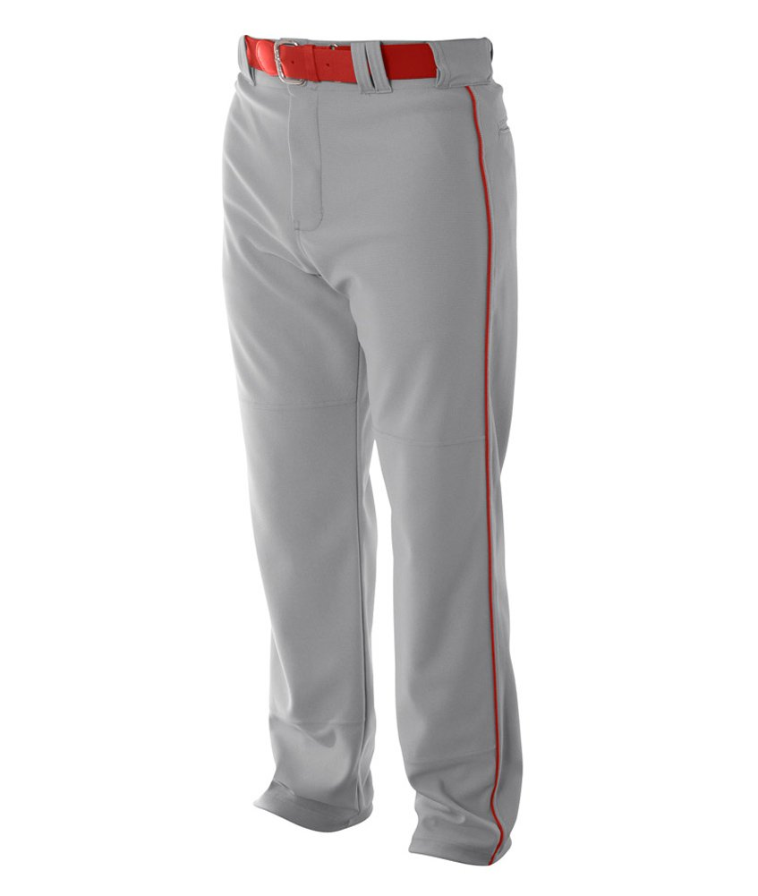 A4 野球用 バギーパンツ メンズ プロ仕様 パイピング入り B00DGF5HOA 4L|グレー/スカーレット グレー/スカーレット 4L