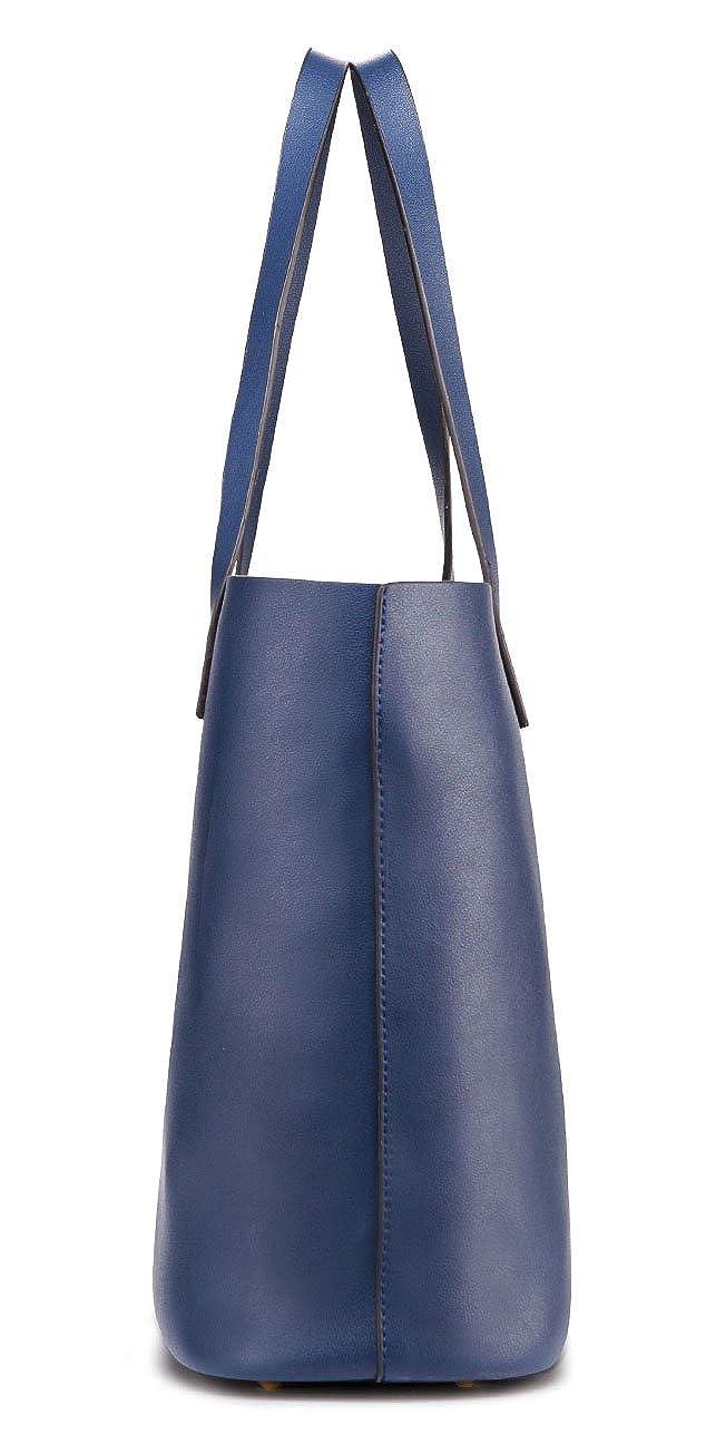 af2b839a6af77 ilishop PU Leather Handbag Designer Pure Color Pures Large Capacity  Shoulder Bag Classical Tote Bags (Blue)  Amazon.ca  Shoes   Handbags
