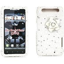 iSee Case Pearl Bling Rhinestone Crystal Full Cover Case for Motorola Droid RAZR XT912 (XT912-3D White Flower White Pearl