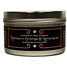 PURE PLANT HOME 4.4 oz Medium Silver Tin Mandarin Orange and Lemongrass Coconut Wax Candle With Real Essential Oils