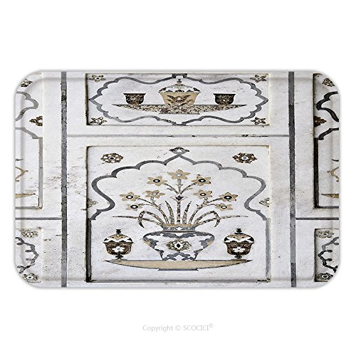 [Flannel Microfiber Non-slip Rubber Backing Soft Absorbent Doormat Mat Rug Carpet Agra Utta Pradesh India February Inlaid Work Of Color Marble Stone On Wall Of Itmad 319614794 for Indoor/Outdoor/Bathro] (Inlaid Italian)