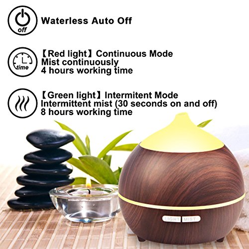 2PACK Essential Oil Diffuser, Iextreme 250ml Wood Grain diffuser With Auto Shut Off, 8 Colorful LED Light, Adjustable Mode Aroma Diffuser For Baby, Yoga, Spa, Home, Office by Iextreme (Image #4)