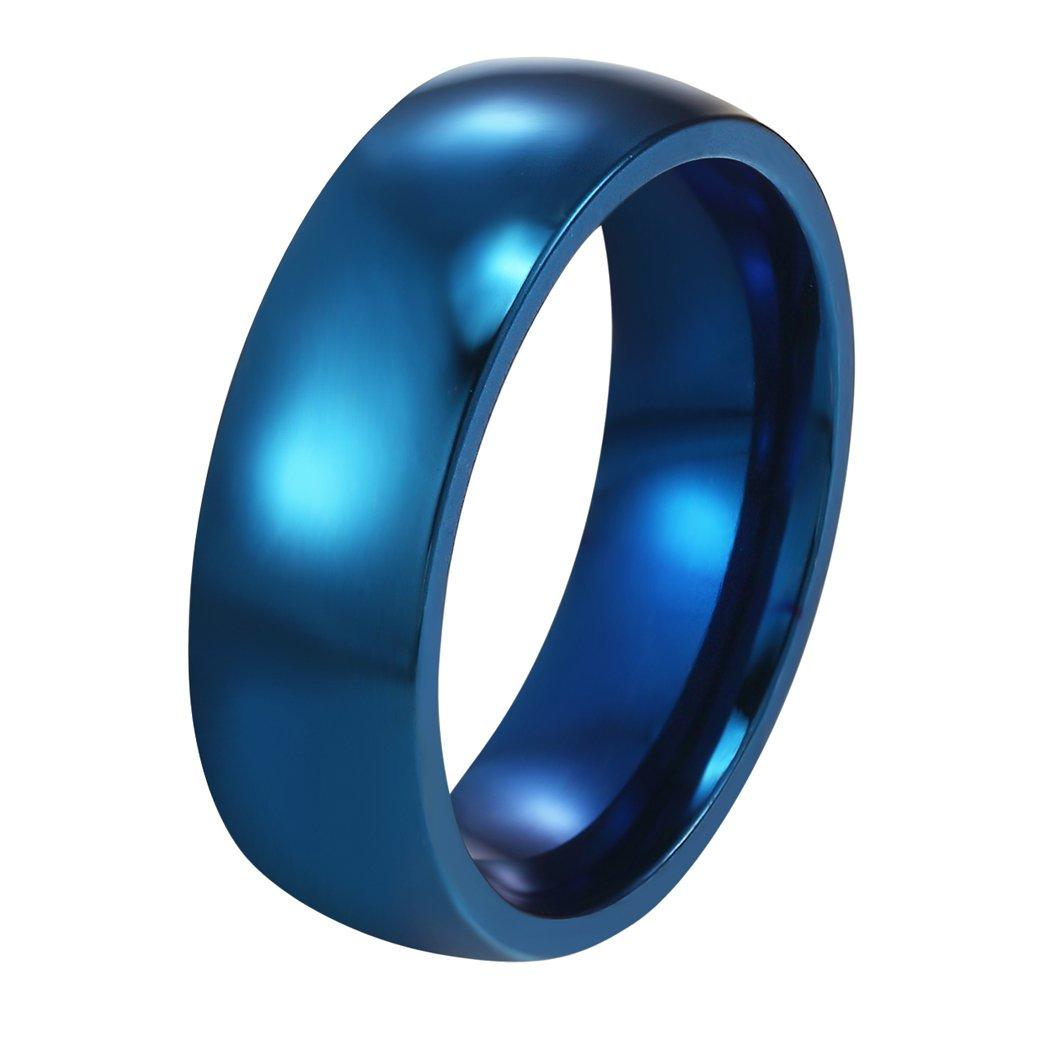 Prosteel - Fede semplice, unisex, anello lucido in acciaio Inox 316L, placcata oro 18kt / placcatura ionica blu, da matrimonio, per coppia innamorata, 3colori a scelta 3colori a scelta Acciaio inossidabile 12 colore: argento