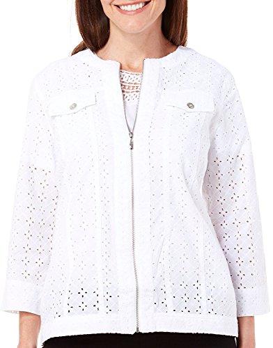 White Eyelet Jacket (Alfred Dunner Women's White Now Eyelet Jacket (8 Petite))