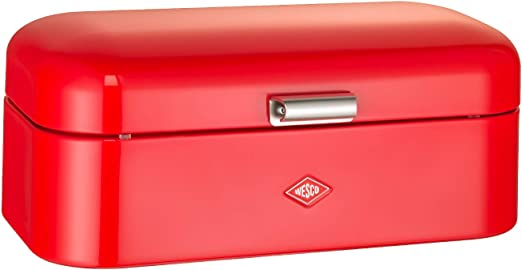 Bread Box with Hinged Lid Metal Kitchen Storage Container for Bread Loaves Kitchen Bread Bin
