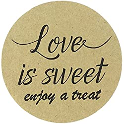 "80-2"" Kraft Love is Sweet Stickers, Wedding Favor Labels, Have a Treat Sticker"