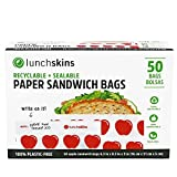 Lunchskins RB-50-SAND-APPLE Recyclable + Sealable, Sandwich & Snack Size Paper Bags, 50ct. Box, Red, Apple