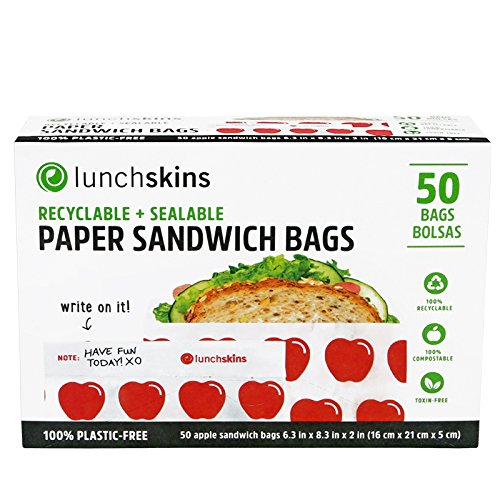 Lunchskins RB-50-SAND-APPLE Recyclable + Sealable, Sandwich & Snack Size Paper Bags, 50ct. Box, Red, Apple ()