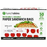 Lunchskins Recyclable + Sealable Paper Sandwich & Snack Bags, Apple, 50 Ct
