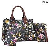 Women Handbag 3 Pieces Set Leather Shoulder Bag Satchel Purse 3 in 1 Simple Design Black Floral/Coffee