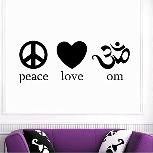 Fushoulu 42X16 Cm Etiqueta De La Pared Om Peace Love Yoga ...