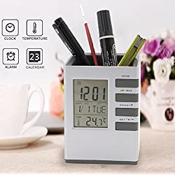Homily Pencil Holder Multifunctional Digital LCD Clock Time Alarm Temperature Calendar pen holder