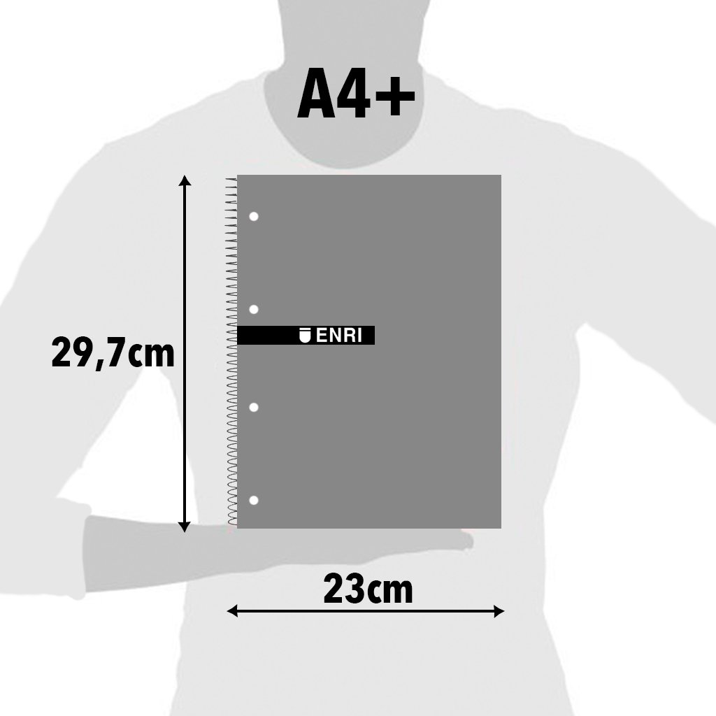 Enri Status 400042282-Pack of 5Notebooks Spiral, Lid Plastic Translucent, A4+