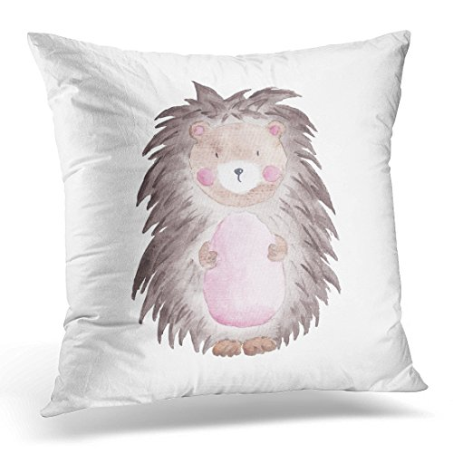 LUOLNN Throw Pillow Cover Cute Animal Hedgehog Watercolor Woodland Decorative Pillow Case Home Decor Square 16x16 Inches Pillowcase - Kid Drawn Calendar Cover