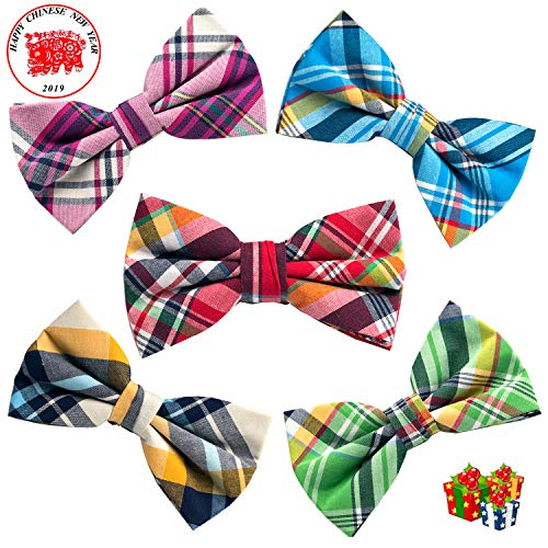 OUMUS 5 PC Mens Assorted Pattern Pre-Tied Adjustable Neck Tie Bowties, Gifts for Birthday, Chinese New Year and Holiday -