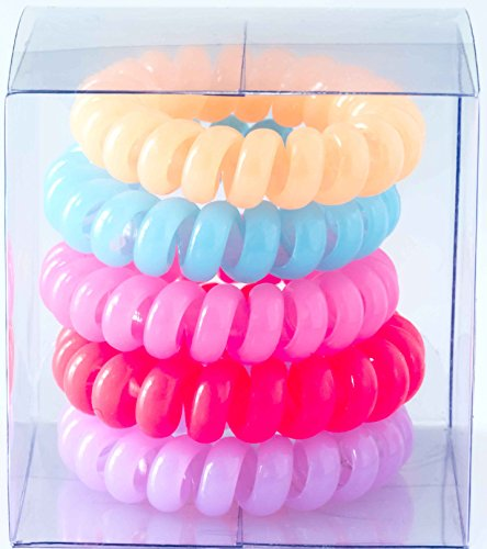 Her's Pastel Colors(Randomly Selected), Hair Ring, Hair Ties Ponytail Holders, Hair Bands Styling Accessories for Girls, Ladies, and Women Pack of 5 Pieces. Diameter 1.6Inches.