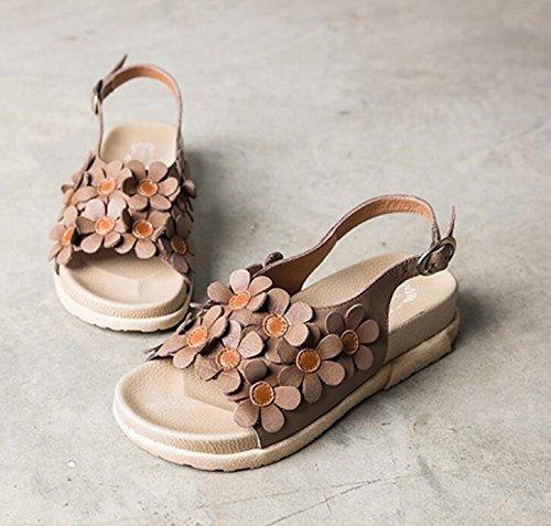 Vrouwelijke Sandalen Voor De Zomer Nieuwe Stijl Appartement Rome Fairy Schoenen Vintage Vis Kop Bloem Hielen