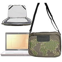 """Sacoche vert kaki - motif """"nature monde""""- pour ordinateur portable Lenovo S910p Touch Notebook et IdeaPad Y410p 14"""", Razer Blade 3ème génération, Samsung Series 7 Chronos (770Z5E) + bandoulière - DURAGADGET"""