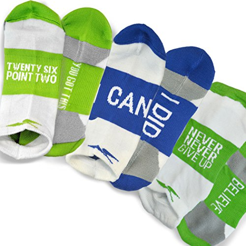 Gone For a Run Inspirational Athletic Running Socks - One Size Fits Most - Set of 3 Pairs - Multicolored (Marathoner) ()