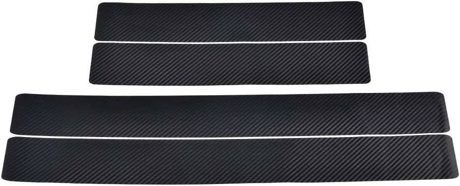 Bevinsee 4PCS Car Door Sill Scuff Welcome Pedal Protect Stickers,Front Door 60 x 6.8cm(23.62 x 2.68 inch) Rear Door 40 x 6.8cm(15.75 x 2.68 inch)Set