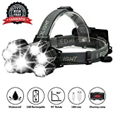 Headlamp LED USB Rechargeable Best Headlights for Running&Camping,5 Modes Brightest 12000 Lumen Helmet Light Waterproof Flashlight with Zoomable Work Light,2 Powerful 18650 Lithium Batteries Included