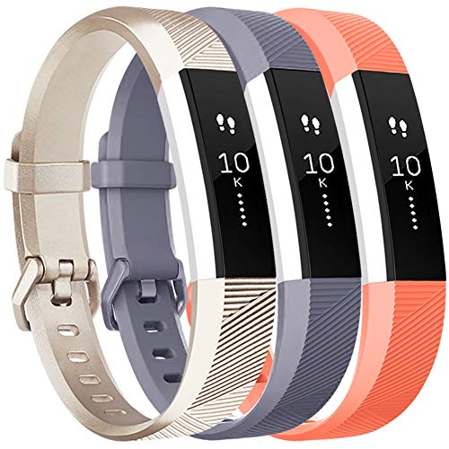 - Vancle Bands Replacement for Fitbit Alta HR and Fitbit Alta (3 Pack), Newest Sport Replacement Wristbands with Secure Metal Buckle for Fitbit Alta HR/Fitbit Alta (Champagne Gray Coral, Small)