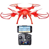 Holy Stone HS120 Wifi FPV Drone with Adjustable HD Camera Live Video RC Quadcopter with Altitude Hold, App Control and 3D VR Headset Compatible, RTF Easy to Fly for Beginner and Expert, Color Red