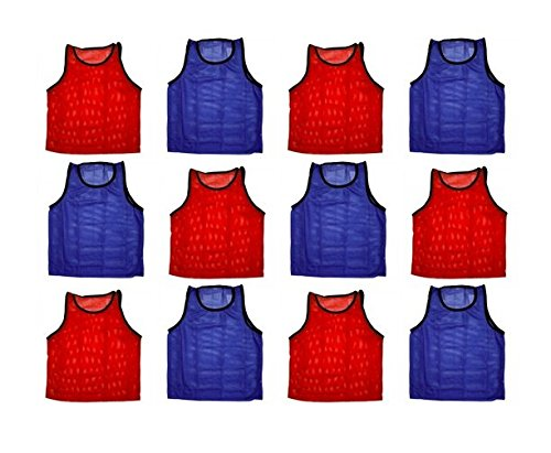 (BlueDot Trading Adult Sports Pinnie Scrimmage Training Vest, Combo Red/Blue, 12 Pack)