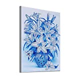 Baulody Arts Craft Canvas Wall Decor Beautiful Geometric Flower 30X40cm Diamond Painting Special Shaped Diamond Painting DIY 5D Partial Drill Cross Stitch Kits Crystal (Blue)