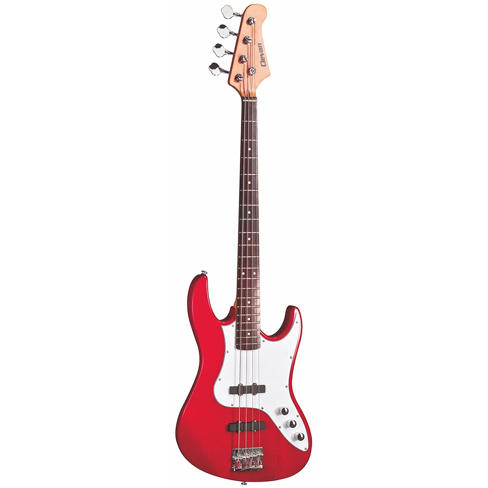 Clevan CJB-20 MRD Agathis 4-String Electric Bass Guitar, Metallic Red