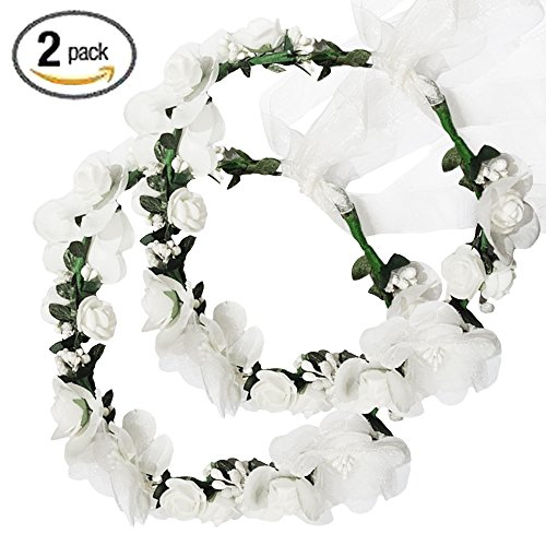 Flower Crown Headband Rattan Vine Wreath Garland Floral Wedding Bridal Hair Hoop Leaf Ribbon Party Decoration Headdress Headwear Christmas Handmade Headpiece Girls Kids Hair Accessories 2 Pack White (Hair Girl Decoration)
