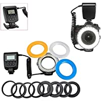 YaeTek 48 Macro LED Ring Flash Bundle with LCD Display Power Control, Adapter Rings and Flash Diffusers for Canon 650D,600D,550D,70D,60D,5D Nikon D5000,D3000,D5100,D3100,D7000,D7100,D800,D800E,D60
