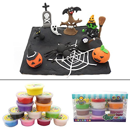 Playdough Halloween Costumes (OVI Colorful Kids Ultra Light Modeling Clay Magic Air Dry Clay Artist Studio Toy 12 Bright Color?No-Toxic Modeling Clay, Creative DIY Crafts,DIY Halloween Decor)